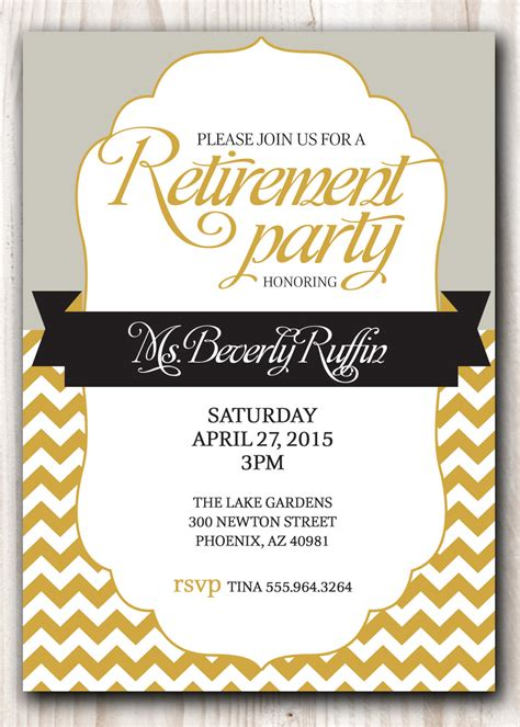 I love a good theme party. RETIREMENT PARTY Invitation Gold and Silver or Pick any Color