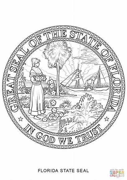 Seal Florida Coloring State Pages Printable Symbols