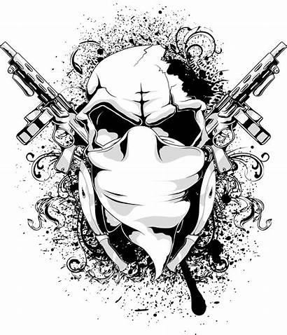 Graphic Skull Clipart Tshirt Transparent Birthday Gun