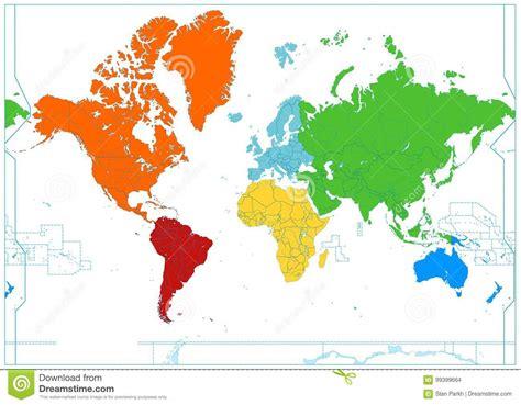 Världskarta Med Färgrika Kontinenter Ingen Text Vektor ...