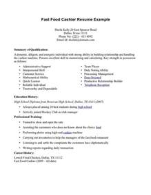 resume for working student in fast food resume for fastfood fast food cashier resume cv resumes and cover letters