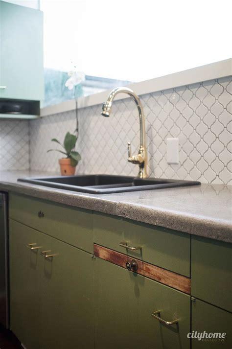 kitchen tile board mid century modern kitchen green cabinets concrete 3242