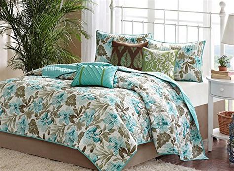 Turquoise Tropical Palm Leaf Quilt Set ( Piece Bed In A Bag
