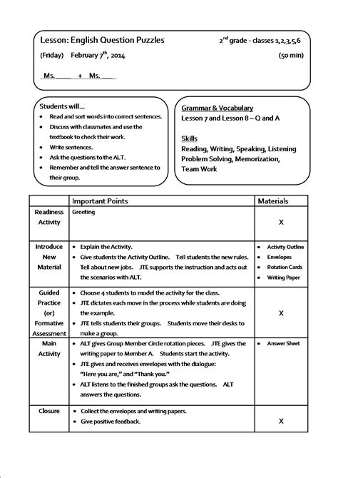 Inspirational Marzano Lesson Plan Template  Business Plan