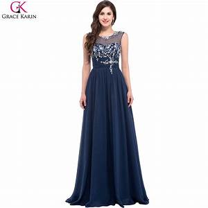 long navy blue bridesmaid dresses grace karin chiffon With long navy dress for wedding