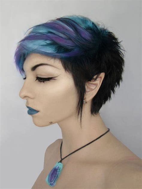 Purple And Blue Short Alternative Dyed Hair Fixing The