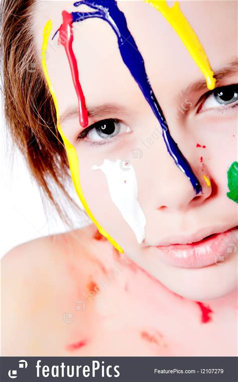 body art  beauty wet colorful paint dripping