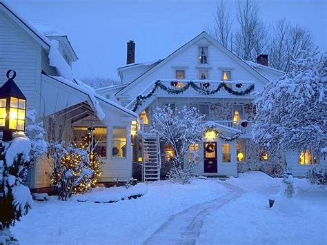 christmas houses in snow wallpaper wallpapers9