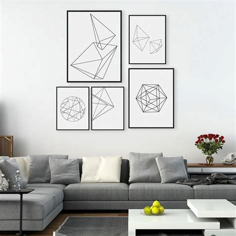 home interior pictures wall decor modern nordic minimalist black white geometric shape a4