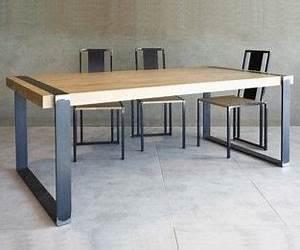 Table Bois Et Metal Salle Manger : table design bois metal bois m tal pinterest manger mobilier maison et table ~ Teatrodelosmanantiales.com Idées de Décoration
