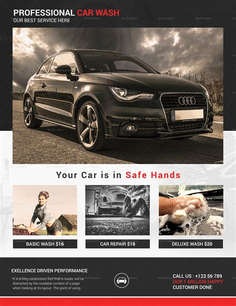 This car wash flyer template is created in order, to promote your car wash facility in the neighborhood. Elegant Car Wash Flyer Design Template in Word, PSD, Publisher