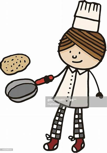 Pancake Pan Tossing Frying Chef Clipart Holding
