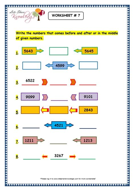 grade 3 maths worksheets 4 digit numbers 1 9 before