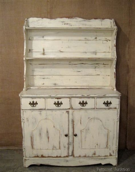 white hutch  distressed paint