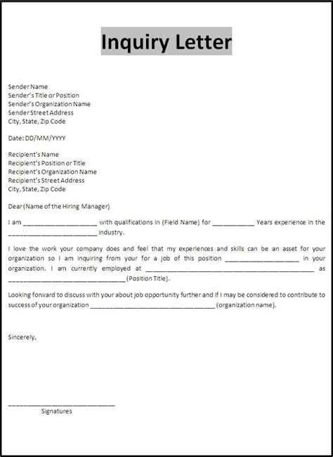sample inquiry letter  words templates