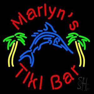 Custom Tiki Bar With Shark and Two Neon Sign Tiki Bar Neon