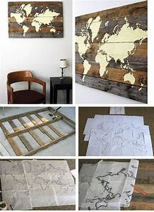 Pallet board world map click pic for 36 diy wall art for Homemade decoration ideas for living room