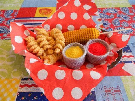 curly set corndog crochet food set by tammiescreations on etsy