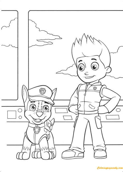 paw patrol chase  ryder coloring page  coloring pages