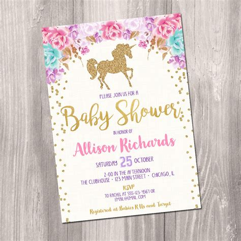 Baby Shower Invite Ideas - unicorn baby shower invitation baby shower invitation