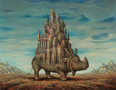 fantasy art artwork drawing rhino bricks castle