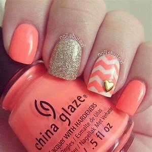 Peach sparkled chevron nails stripe polka dot