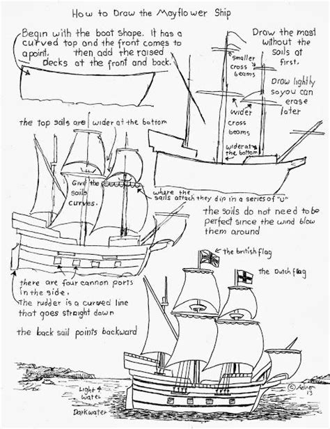 How To Draw A Pilgrim Boat by How To Draw The Mayflower Pilgrim Ship Worksheet How To