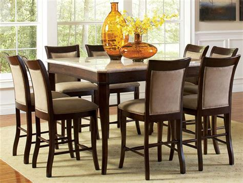 counter height dining room sets contemporary marble top 54 quot counter height 9 dining table and chair set ebay