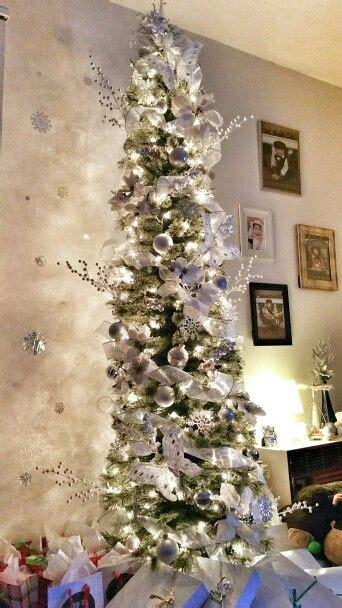white silver skinny christmas tree christmas