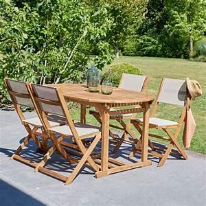Salon De Jardin En Bois : salon de jardin en bois d 39 acacia fsc et textil ne bois ~ Dailycaller-alerts.com Idées de Décoration