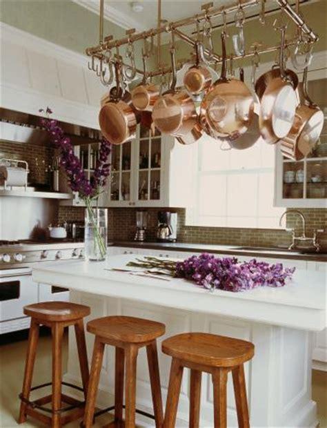 pot rack  kitchen island traditional kitchen michael  smith