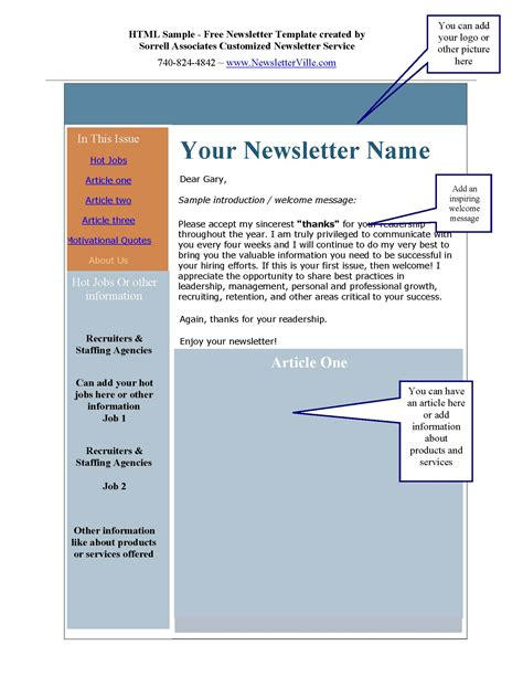 Newsletter Outline Template by Newsletter Articles Provided Plus Free Newsletter