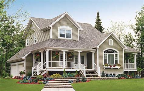 Two Story House With Wrap Around Porch by Architectural Designs