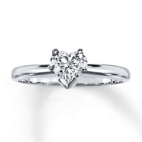diamond solitaire ring 1 2 carat heart shaped 14k white