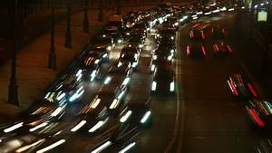 Cars Moving On Busy Roads At Night  Kuala Lumpur  Malaysia