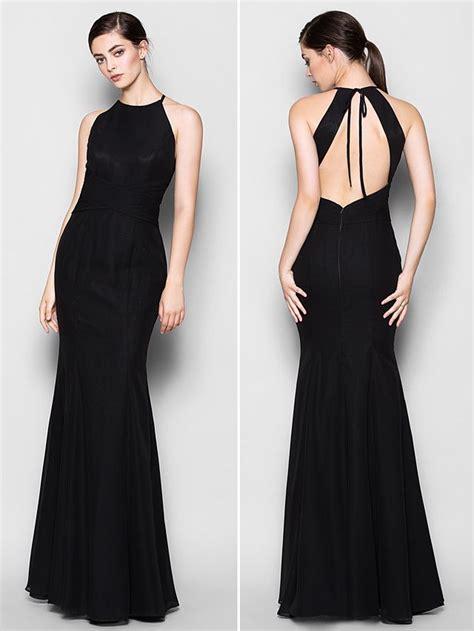 Floor-length Chiffon Bridesmaid Dress - Black Plus Sizes ...