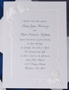 lovely treasures from the sea embossed in pearl frame With embossed shell wedding invitations