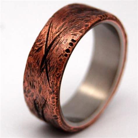 minter richter unique wedding rings beaten copper