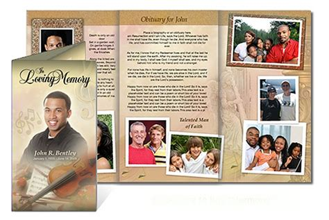 custom funeral programs tri fold brochure templates