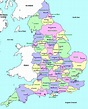 Online Maps: Map of England with Counties