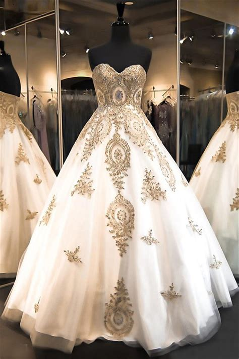 ball gown strapless sweetheart white satin tulle gold lace