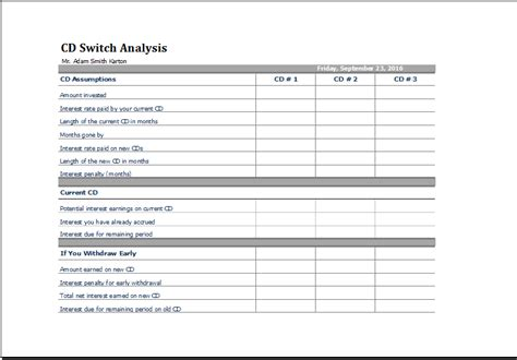 printable cd switch analysis template ms excel excel