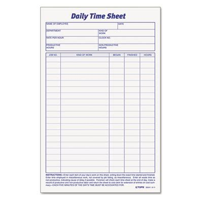 Tops™ Daily Time And Job Sheets At Nationwide Industrial