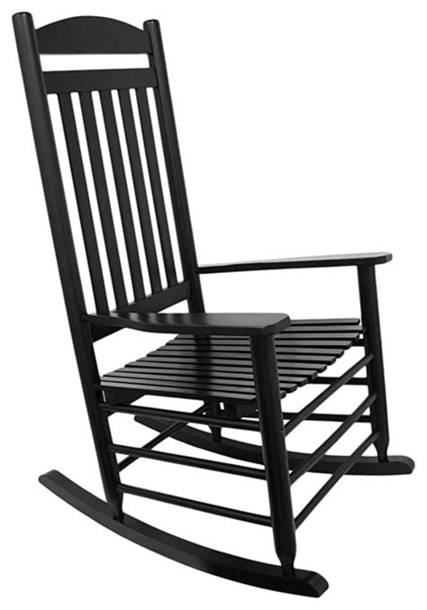 black high back slat rocking chair traditional