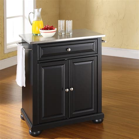 black kitchen island with stainless steel top alexandria stainless steel top portable kitchen island 9770