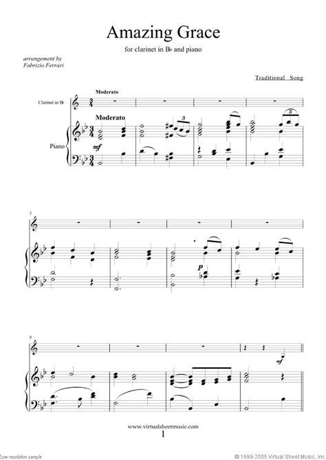 amazing grace sheet   clarinet  piano