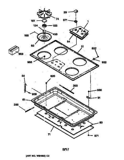 ge cooktop parts ge gas cooktop parts model jgp626wev5ww sears partsdirect
