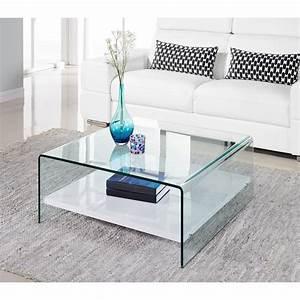 Table Basse Blanche Et Verre : clear table basse 80cm verre transparent et laqu blanc brillant 305078 ~ Teatrodelosmanantiales.com Idées de Décoration
