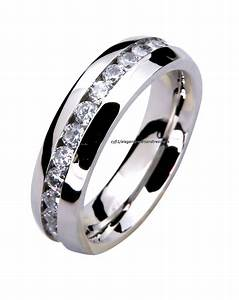 316l stainless steel mens ladies comfort fit 6mm cz for Mens wedding ring stainless steel