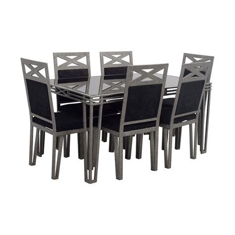 black and silver table ls 73 off black glass and silver base dining set tables